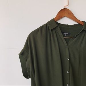 MADEWELL   Central Drapey Shirt, Olive Green